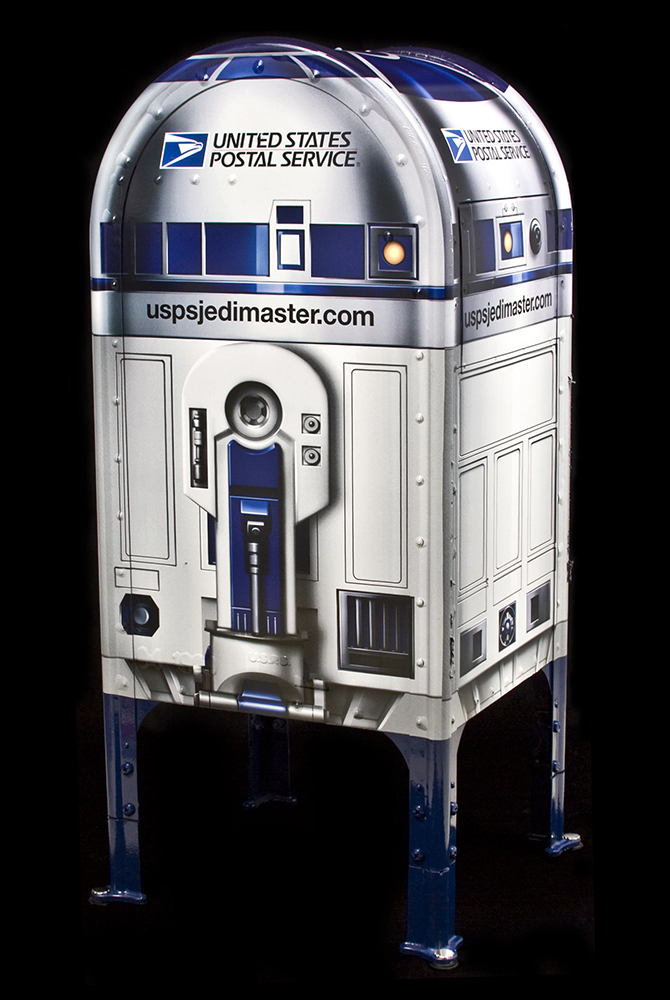 back of Star Wars R2-D2 mail collection box