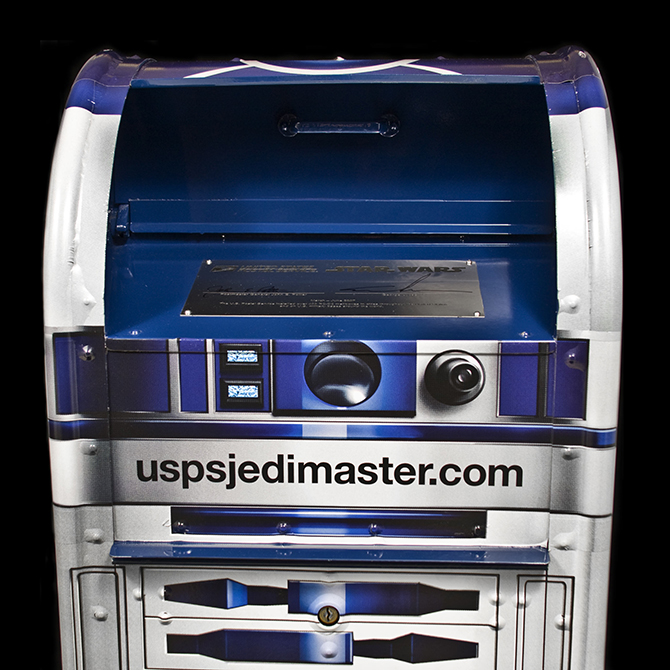 front of Star Wars R2-D2 mail collection box