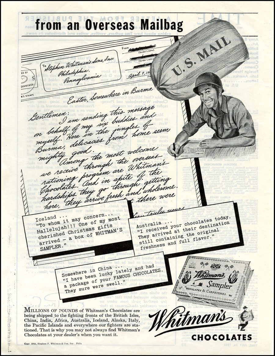 From an Overseas Mailbag- Advertisement for Whitman's chocolates with a soldier writing a letter and a U.S. mailbag