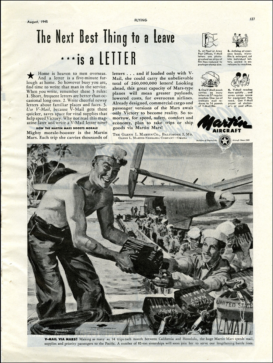 The Next Best Thing to a Leave is a Letter- Advertisement for Martin Aircraft with soldiers receiving V-Mail in a tropical location