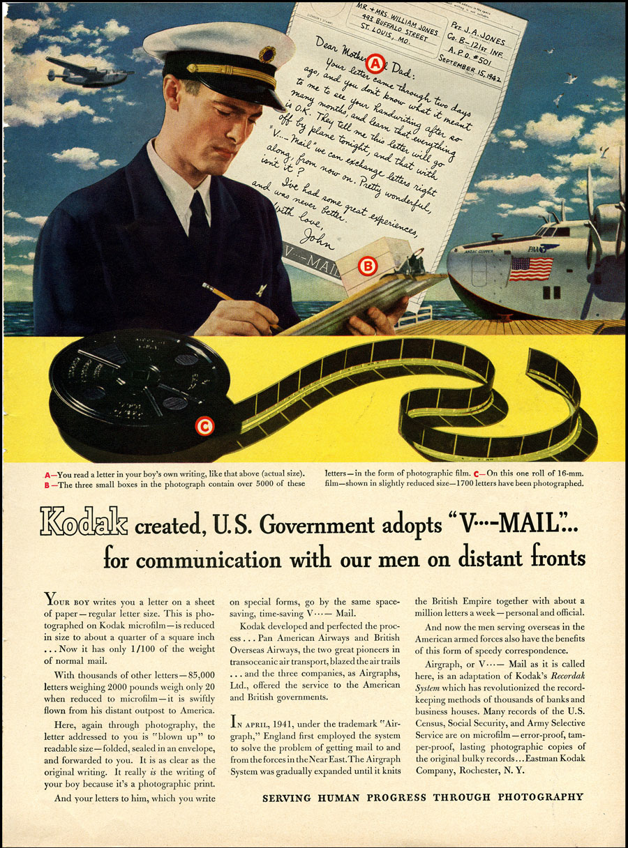 Kodak created, U.S. Government adopts V-Mail for communication with our men on distant fronts- Advertisement for Kodak with a color image of a pilot writing a letter to his parents