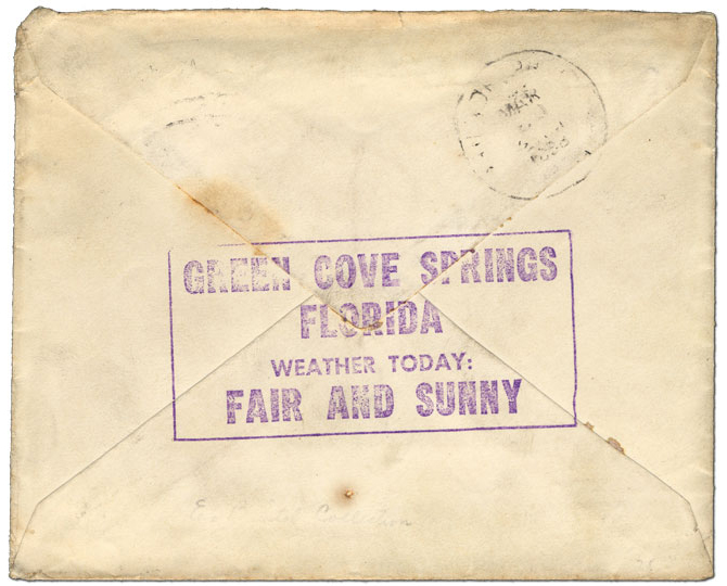 Weather today: Fair and Sunny- Green Cove Springs, Florida weather back-stamp, 1888