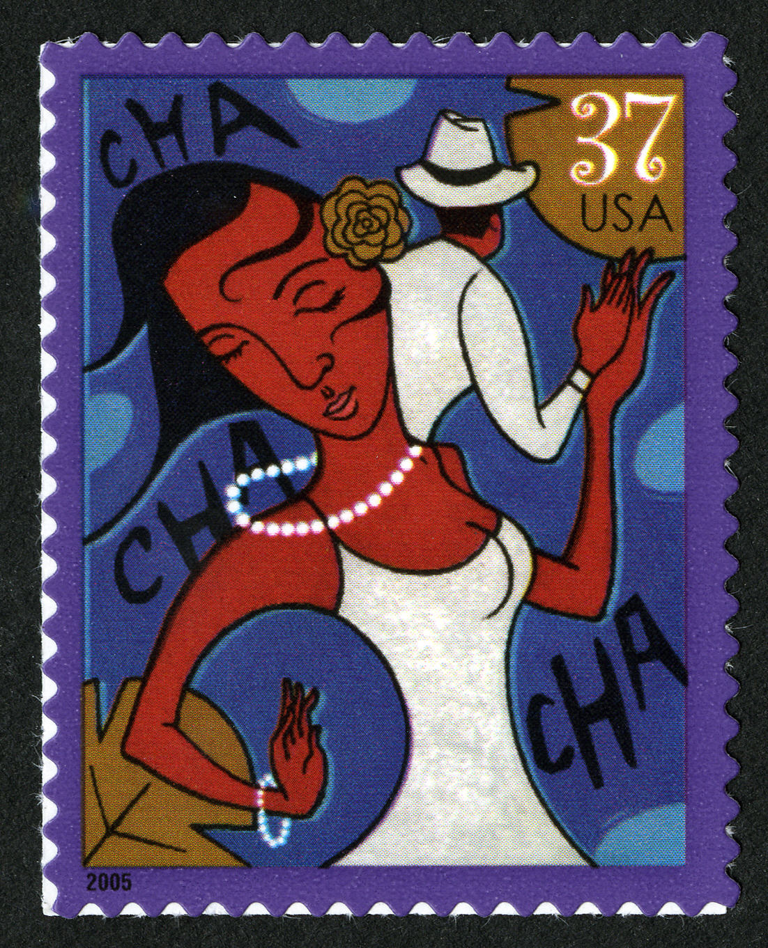 Brightly colored postage stamp with woman in dress in foreground, arms raised in dance. She holds hands with man in hat in background.