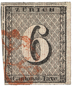 6r Zurich cantonal issue single, 1843