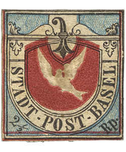 2 1/2r Basel Dove cantonal issue single, 1845
