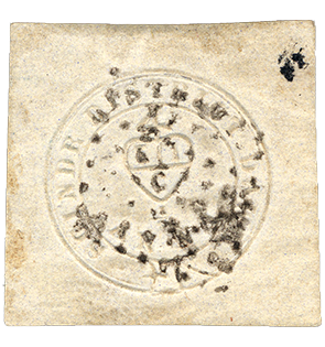 1/2a Sindh Dak District Post single, 1852