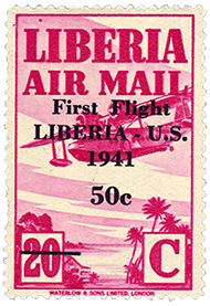 50c surcharge on 20c airmail single, 1941
