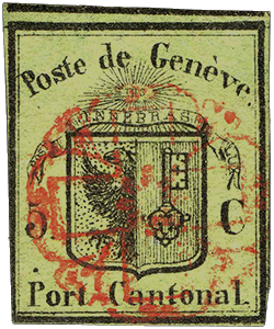 5c Geneva cantonal issue single, 1845