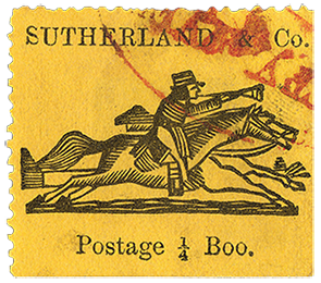 1/4b Sutherland & Co. local post single, c. 1870