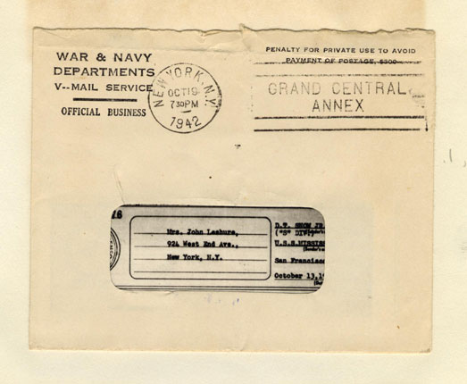envelope to Mrs. John Leshure from the War & Navy Departments V-Mail Service