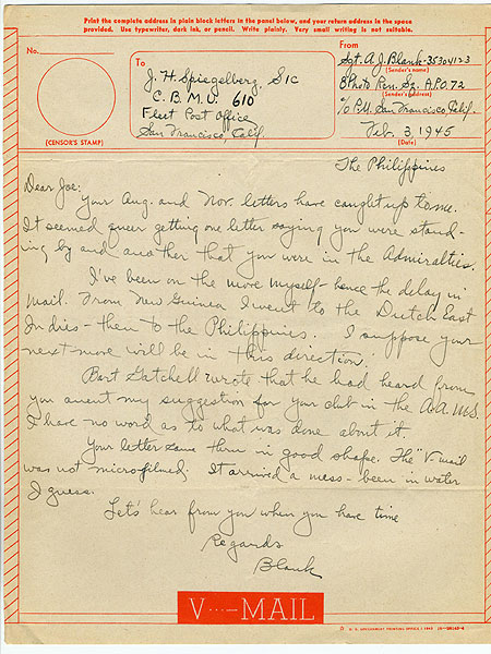 letter to J.H. Speigelberg (Joe) from Sgt. A.J. Blank