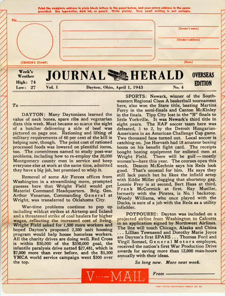 Journal Herald Overseas Edition Vol. 1 No. 4 from 1943 with military news and sports updates