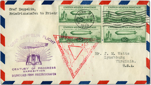 A Century of Progress Graf Zeppelin block of four on cover