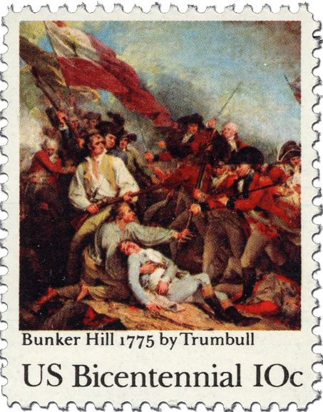 10 cent Bunker Hill 1775 by Trumball- a painting of a battle scene