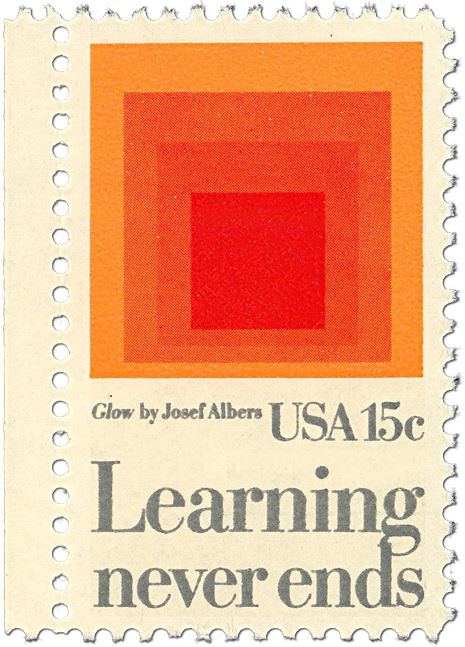 Learning Never Ends stamp- Glow by Josef Albers