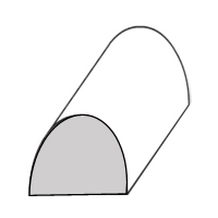 A black and white figure of a piece of paper folded over so the edges touch the ground, but the middle is up in the air and empty; the shape is similar to a rainbow.