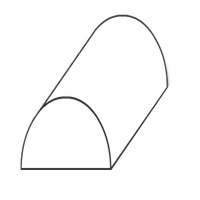 A black and white figure of a piece of paper folded over so the edges touch the ground, but the middle is up in the air, and has been covered by a half circle; the shape is similar to a rainbow.