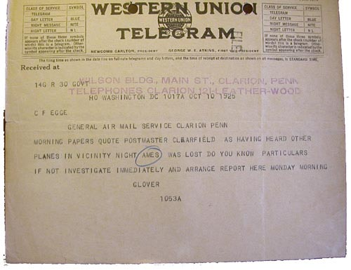 Telegram regarding Ames' disappearance