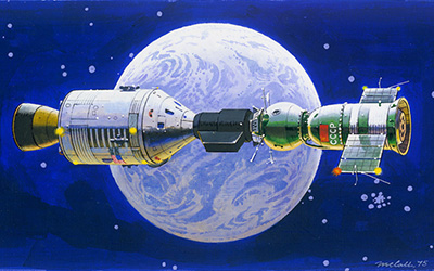 painting of Apollo and Soyuz with Earth in the background