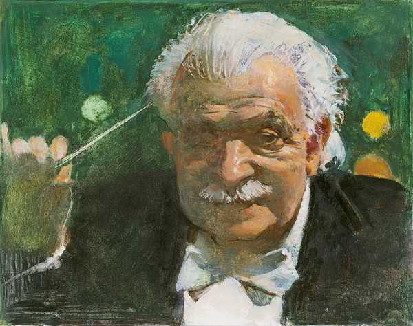 painting of Arthur Fiedler holding a directors wand
