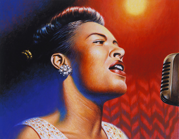 painting of Billie Holiday singing