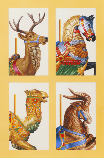 four illustrations of carousel animals, a deer, a hourse, a camel, and a ram