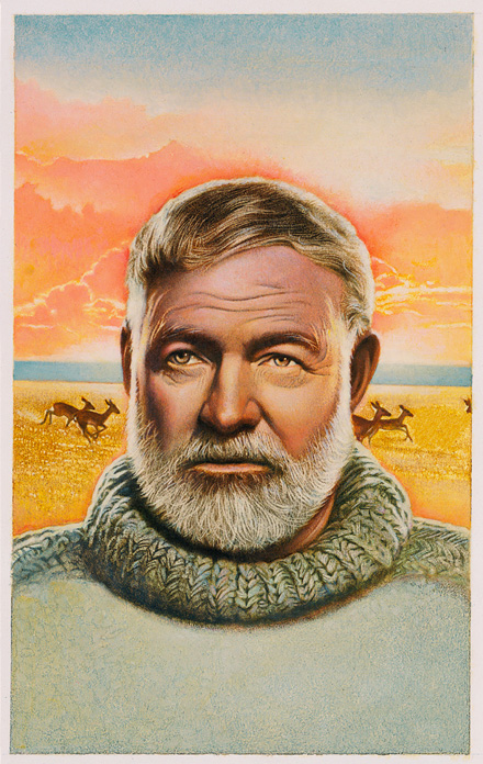 painting of Ernest Hemingway with antelope in the background