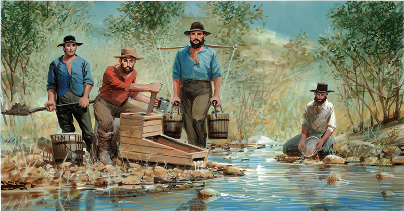 painting of four men sifting for gold in a river