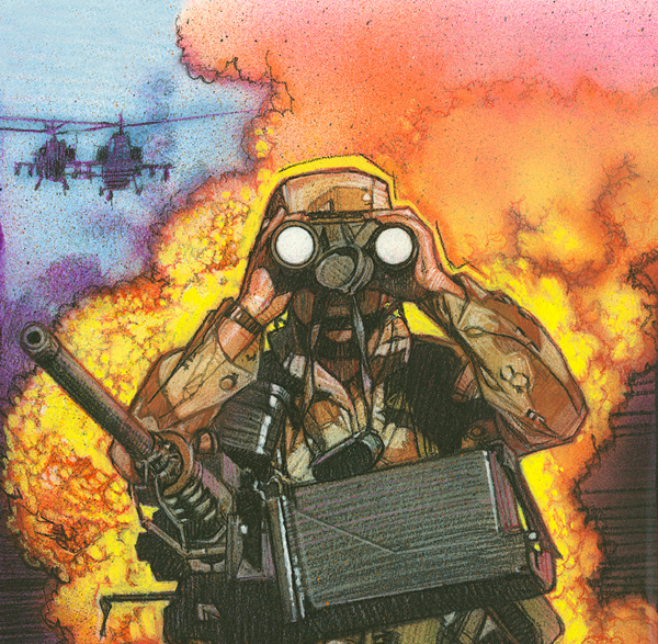 Illustration of a soldier looking through binoculars and two helicopters in the sky