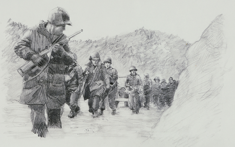 Drawing of about 10 soldiers carrying guns and walking through snow