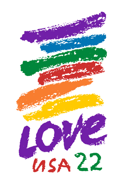 rainbow colors and the word LOVE