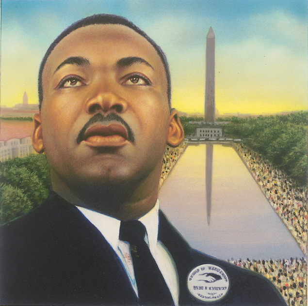portrait of Martin Luther King in front of the Reflecting Pool and the Washington Monument