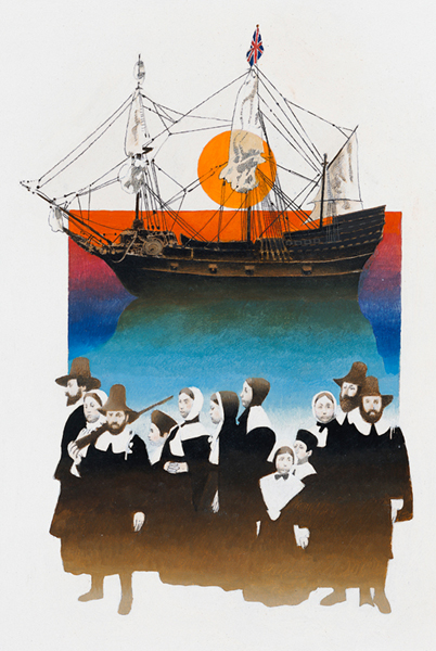 Illustration of 12 pilgrims and a ship in the background