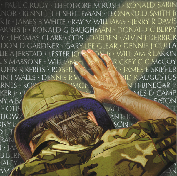 painting of a soldier leaning on the Vietnam Veterans Memorial wall