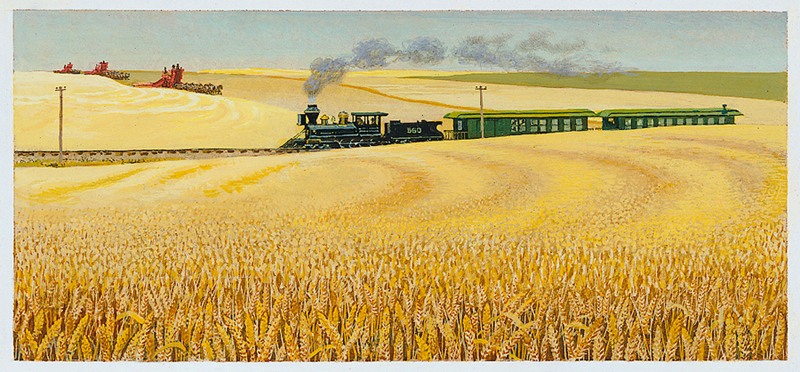 Illustration of a train on tracks in the middle of a wheat field and three combines harvesting wheat in the background
