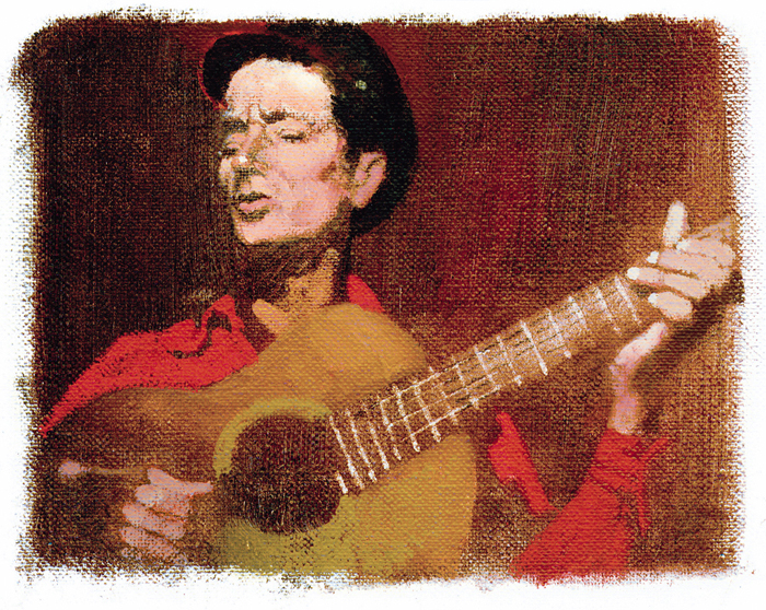 painting of Woody Guthrie playing a guitar