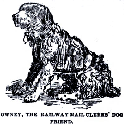 A drawing of Owney the railway mail clerk's friend