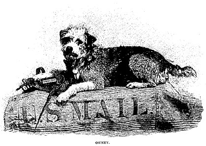 A drawing of Owney the dog sitting on a mailbag
