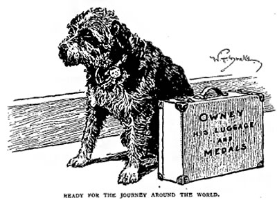 A drawing of Owney the dog sitting with a suitcase
