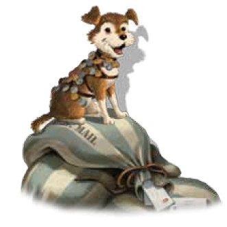 Drawing of Owney sitting on mailbags