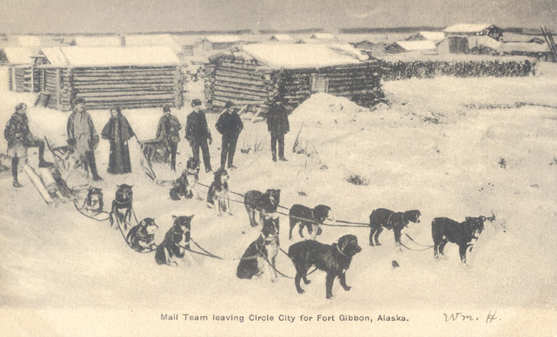 Postcard showing an Alaskan dog sled with dogs in snow