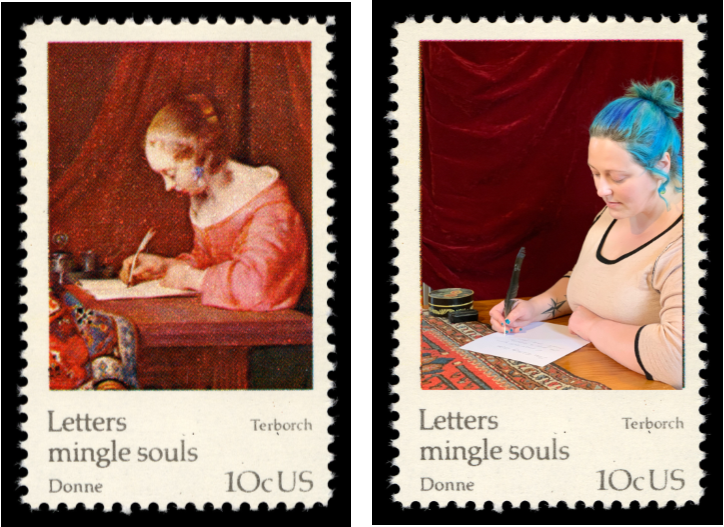 Two similar postage stamps side by side. Left stamp depicts painting of woman sitting at desk writing. Right stamp depicts photograph of woman sitting at desk writing.