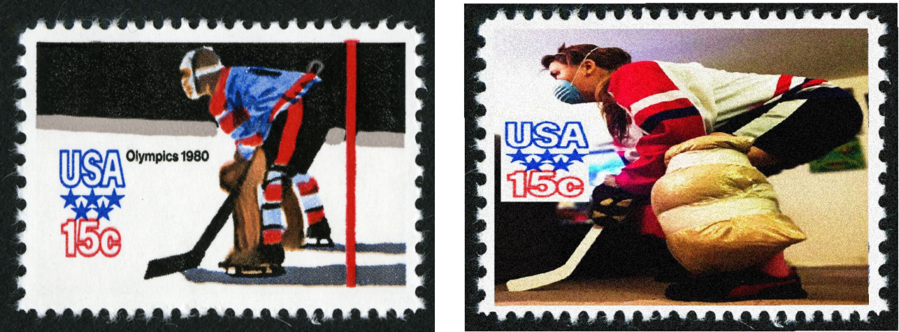 Two similar postage stamps side by side. Left stamp depicts illustration of hockey goalie in uniform crouched in defensive stance. Right stamp depicts photograph of person in makeshift hockey uniform crouched in defensive stance.