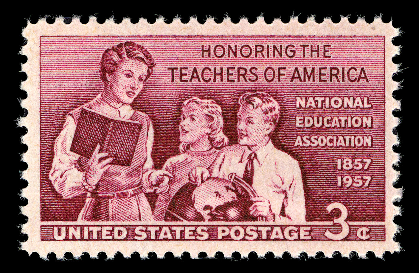 Postage stamp with image of adult woman holding book and pointing at globe. A young boy and young girl are listening to her.