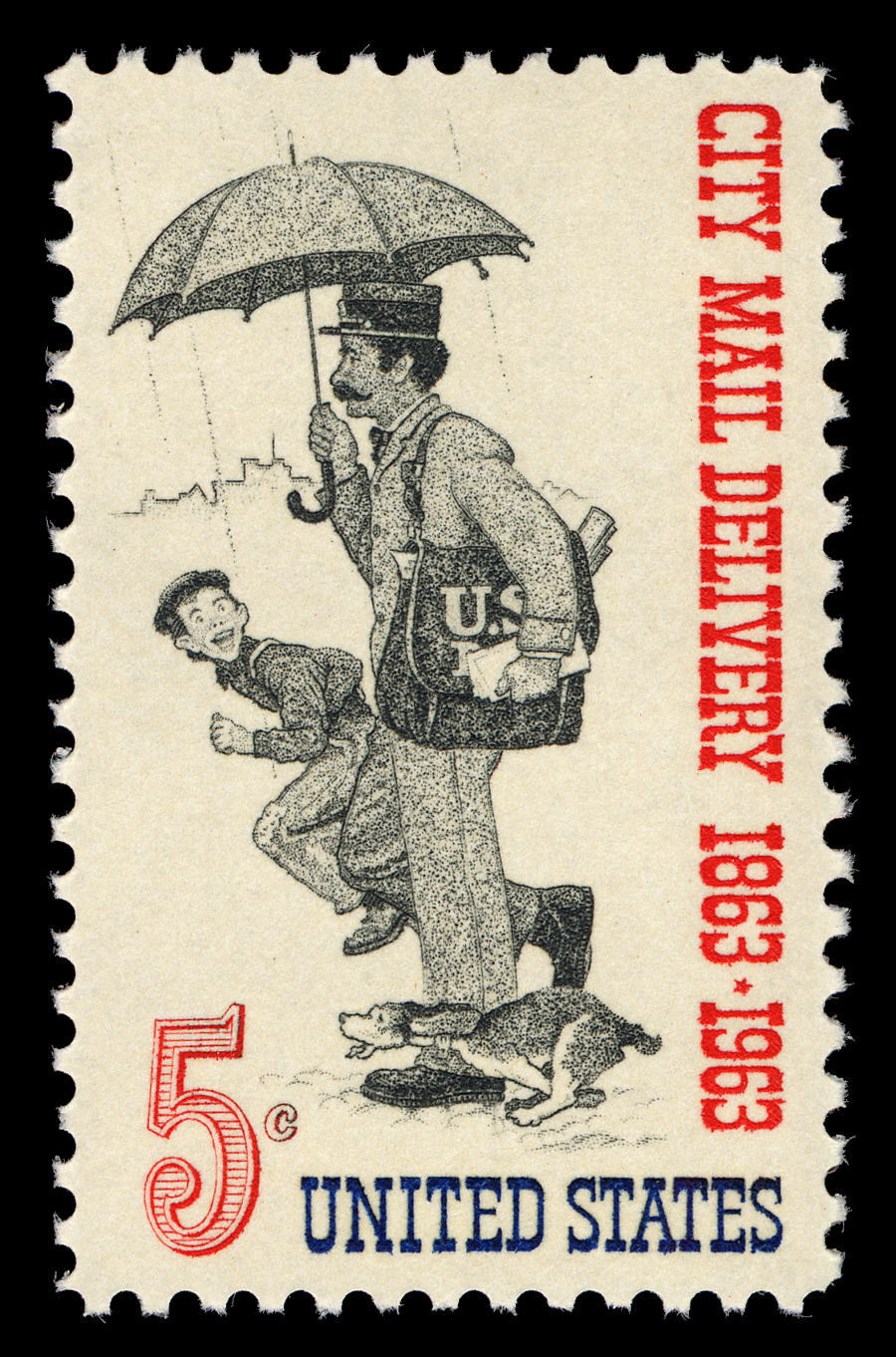 Postage stamp with illustration of mail carrier holding an umbrella and bag of mail. A young boy and a small dog run alongside him. It is raining.