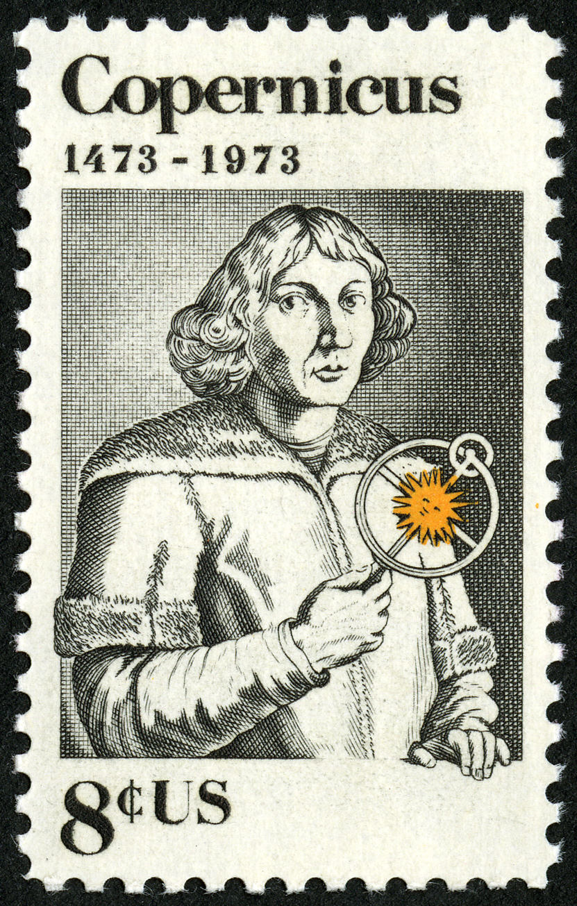 Postage stamp with drawing of man holding device demonstrating heliocentric astronomical model.