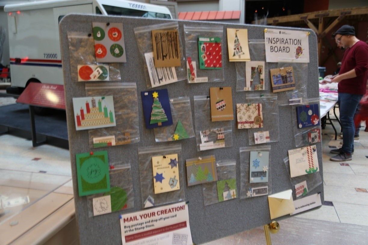 A bulletin board of sample homemade cards to serve as inspiration