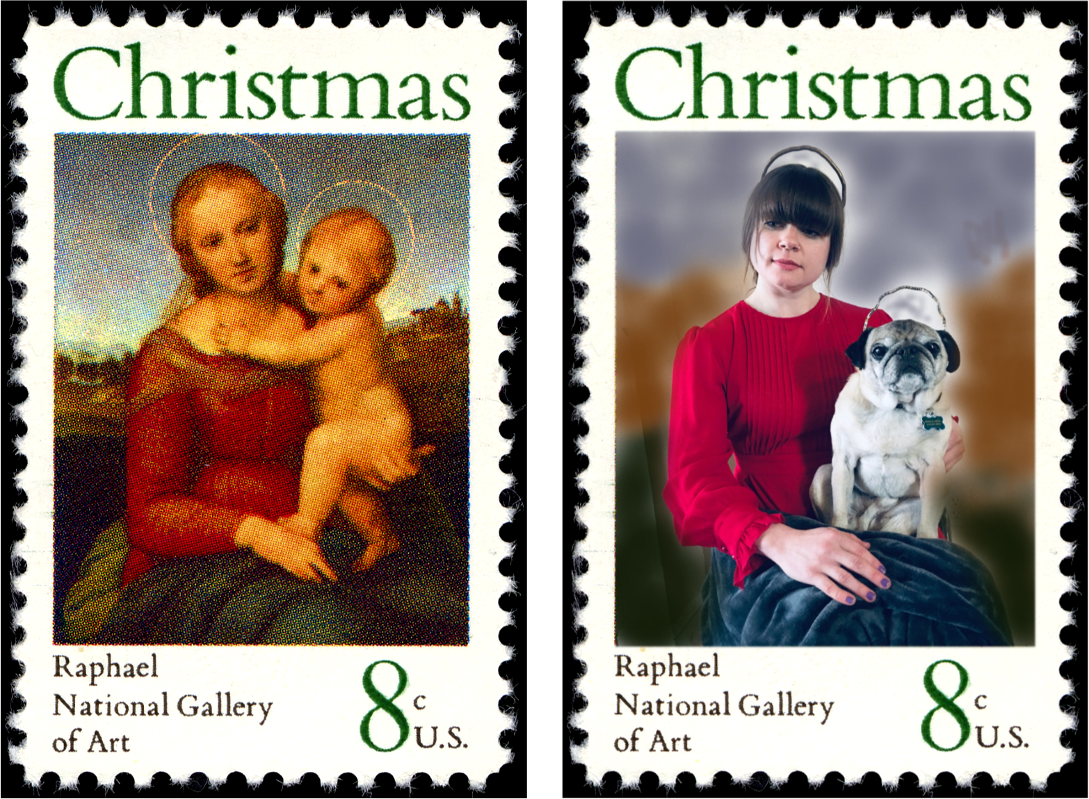 Two similar postage stamps side by side. Left stamp depicts painting of woman with halo holding baby with halo. Right stamp depicts photograph of woman with halo holding dog with halo.