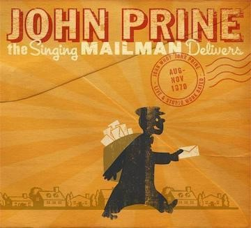 Image of John Prine album cover. Orange background with grey outline of suburban skyline. Black figure of mailman with mail bag.