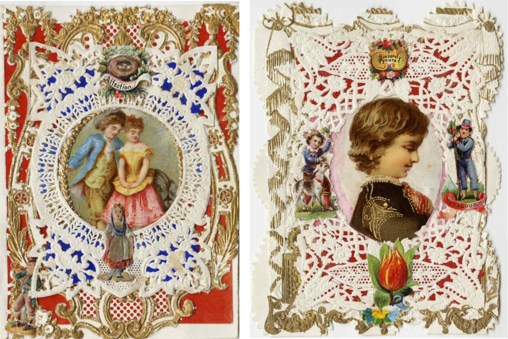 "Left: Image of 19th century valentine card. The red paper is embellished with gold embossing and white lace styling. In the center, an illustration of young man and young woman who lean closely together. Printed across the top, the word ""Affection.""  Right: Image of 19th century valentine card. The red paper is embellished with gold embossing and white lace styling. In the center, an illustration of the profile of a boy who is flanked by smaller illustrations of a boy feeding a goat (left) and a young soldier (right). Printed across the top, the words ""Sincerely Yours."""